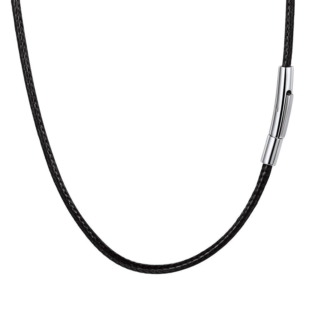 PROSTEEL Collar de Cuero Genuino para Hombre, 2mm/3mm Cadena de Cuero con Cierre de Acero Inoxidable Collar Básico, 41cm/46cm/50cm/55cm/61cm/66cm/71cm/76cm PSN2852G-22