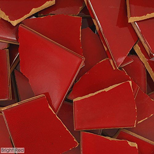 - 5 Pounds of Broken Talavera Mexican Ceramic Tile in BRIGHT RED Solid Color