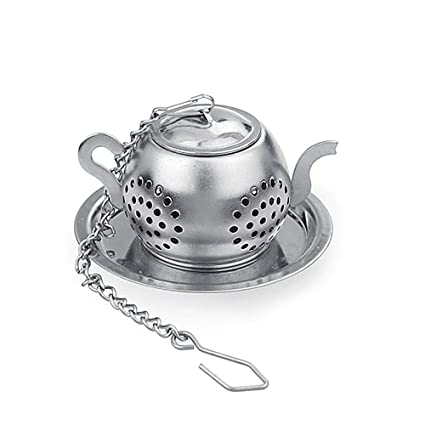 Stainless steel peanut shaped tea infuser with tray