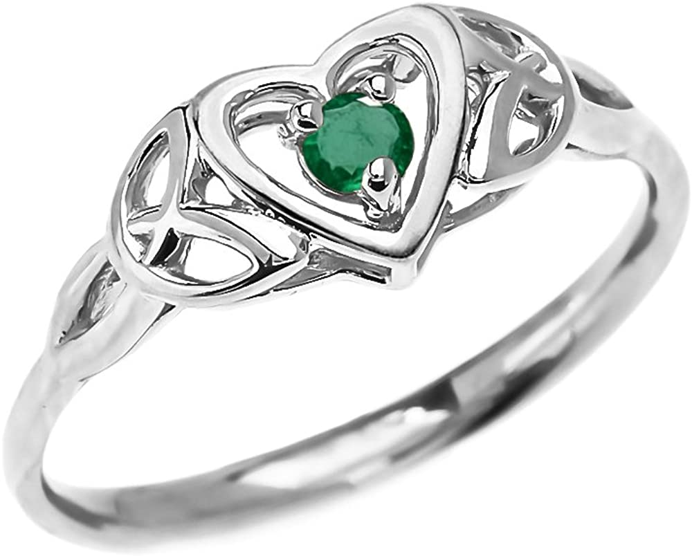 Dainty 10k White Gold Trinity Knot Heart Solitaire Emerald Engagement and Proposal Ring