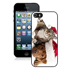 2014 New Style Lovely Red Christmas Hat Dog With Cat Black Phone Case For Iphone 5s,Iphone 5 TPU Case,Apple Iphone 5s