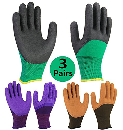 3 Pairs Superior Grip Garden Gloves, High Performance Breathable Work Gloves, Dexterity Latex Fully Coating Durable, High Visibility Machine Washable for General Purpose Use - - Waterproof Gloves Gardening