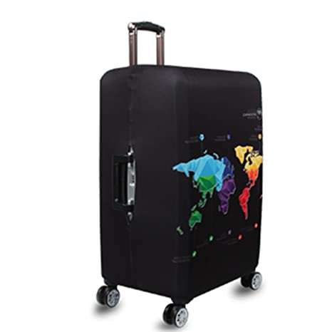 World map print luggage protector cover elastic suitcase cover world map print luggage protector cover elastic suitcase cover spandex travel luggage cover xl fit 29 gumiabroncs Image collections