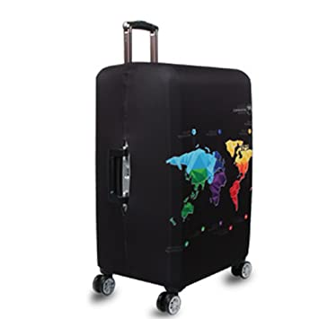 Amazon world map print luggage cover protector elastic world map print luggage cover protector elastic suitcase cover spandex travel luggage cover xl fit 29 gumiabroncs Image collections