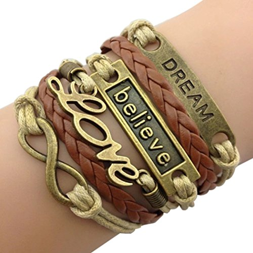 Time Pawnshop Handmade Bronze Dream Believe Love Braided Multilayer Adjustable Leather (Love Double Bronzer)
