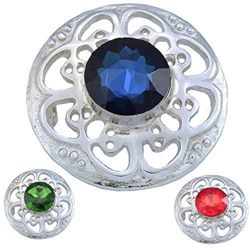 AAR Culloden Plaid Brooch Kilt Brooch Celtic Design 3 Color Stones Chrome Finish (Blue Stone)