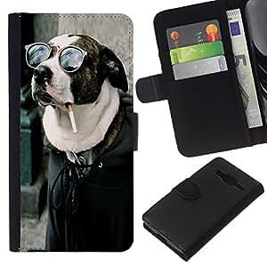 KLONGSHOP // Tirón de la caja Cartera de cuero con ranuras para tarjetas - Buena Divertida Badass fumadores Hipster perro - Samsung Galaxy Core Prime //