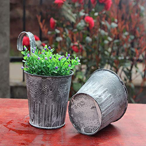 Redvive Top 1x Flower Pot Garden Hanging Balcony Plant Home Decor Metal Iron Potted Planter