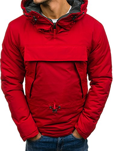 4D4 Mix Jacket Men's Hood Ribbed Quilted Bomber Sport js166 Zip Red Transitional Plain Basic Casual BOLF 7OgSwF