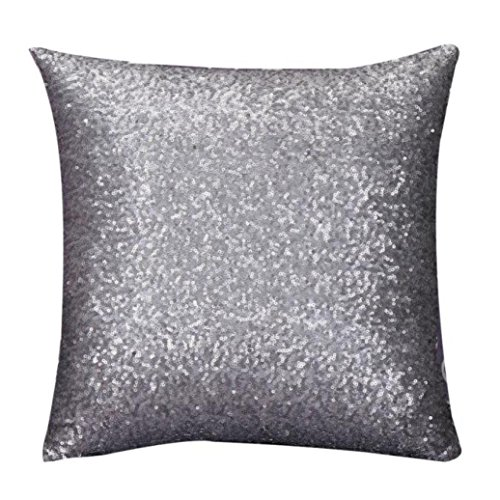 HOT SALE! Napoo 2017 Glitter Sequins Pillow Case Cafe Home Decor Throw Cushion Covers (45cm45cm, Gray)