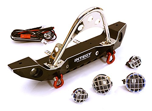 Integy RC Model Hop-ups C27656BLACK Realistic Alloy Machined Scale Front Bumper w/LED Lights for Axial 1/10 SCX10 II