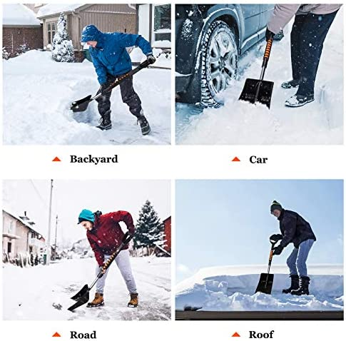 Snow Shovel Kit with Ice Scraper, Snow Brush and Glass Wiper, 5-in-1 Adjustable Snow Shovel Set with Aluminum Pole for Emergency or Truck Car Camping and Outdoor Activities