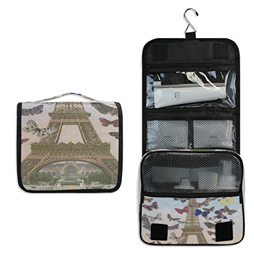 Travel Hanging Toiletry Bag Eiffel Tower Butterfly Cosmetic, Makeup and Toiletries Organizer   Compact Bathroom Storage   Home, Gym, Airplane, Hotel, Car Use (Cabinet Door Mickey Mouse Knobs)