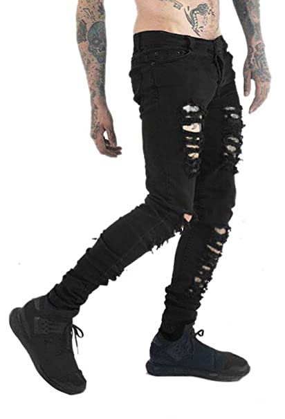 2ce41049f94c Men's Vintage Skinny Fit Stretch Destroyed Distressed Denim Jeans with Rips  at Amazon Men's Clothing store: