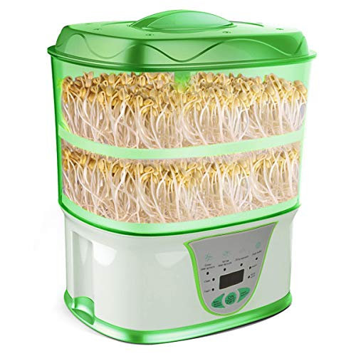(USDREAM Automatic Bean Sprouts Growing Machine Electric Auto Seed Sprouting System - 110V Full-Automatic, 2-Tray Large Capacity Intelligent Sprouter)