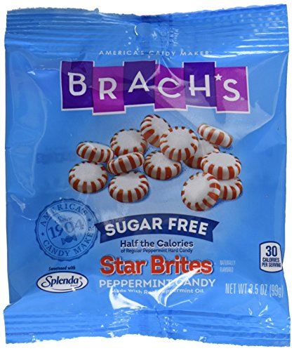 Brach's Sugar Free Star Brites Peppermints Hard Candy, 3.5 Ounce Peg Bag (Pack of 12) Individually Wrapped ()