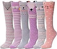 Girls Knee High Socks Tall Long Funny Boot Cute Crazy Animal Child Fun Socks For Kids 6 Pairs