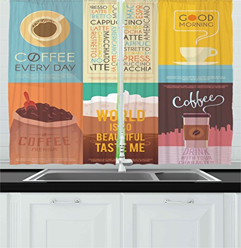 Ambesonne Coffee Decor Collection, Collection Of Coffee Themed Artworks With Typography Vintage Decoration Ornament, Window Treatments for Kitchen Curtains 2 Panels, 55X39 Inches, Yellow Teal Brown