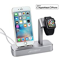 (Lightning Cable Included) ARCHEER 2 in 1 Apple Watch Stand iWatch iPhone Charging Dock Station Stand for iPhone 7/6/6s/6s plus/5s/5 and Apple Watch/Sport/Edition 38mm/42mm