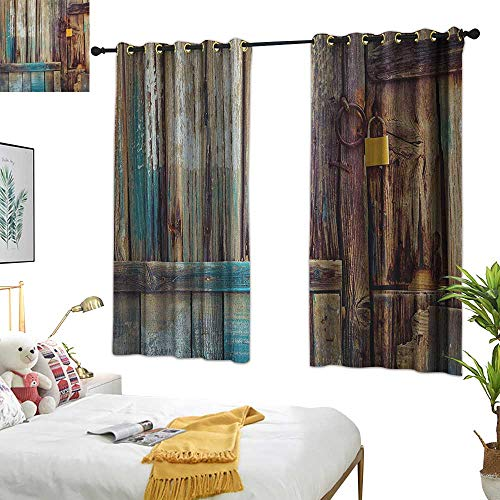 Warm Family White Curtains Rustic,Aged Shed Door Backdrop with Color Details Country Living Exterior Pastoral Mansion Image, Brown 54
