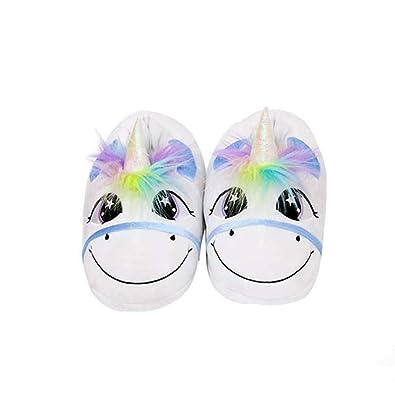 d5bccc54638ee Leisu Chaussons Licorne Unicorn Peluche Pantoufle Hiver Coton Chaussures  Fille Adulte Enfant Femme Nouveauté Animal Chaussures