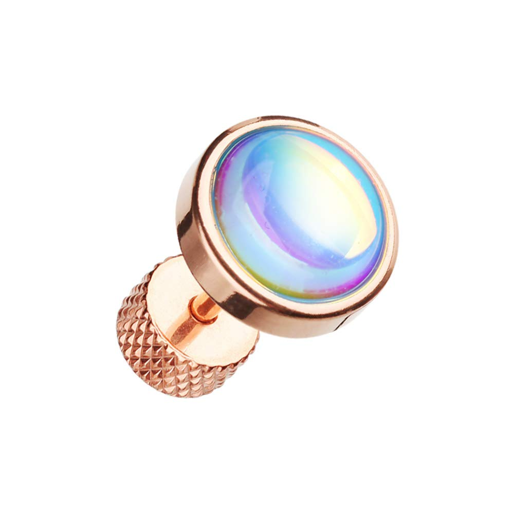 18 GA Rose Gold Illuminating Moonstone Steel Fake Plug 316L Surgical Stainless Steel Body Piercing Jewelry for Women and Men DavanaBody