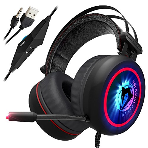 [NEWEST 2018 UPGRADED] Gaming Headset for XBox One, PS4, PC - 7.1 Best Surround Stereo Sound, Noise Cancelling Mic, 3.5mm Soft Breathing Over-Ear Game Headphones – USB LED Laptop, PS3