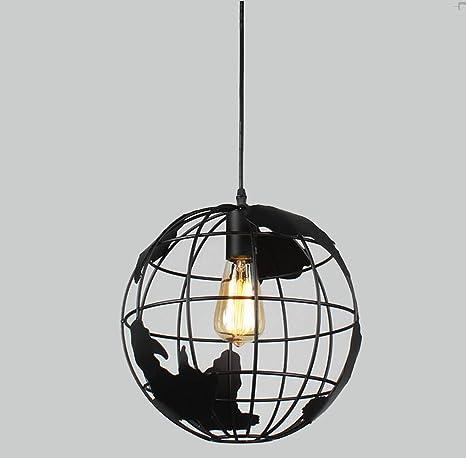 Sanlise - Luz de Techo Colgante Globo Terráqueo Lámpara Araña Modern para Habitaciones de Trabajo Comedor Salón Piso Llano Local Altura Regulable con ...