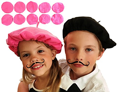 [Pink Beret Party Hats, Bulk Lot of 10] (France Costume For Girls)