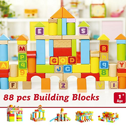 99 Toys Alphabet Wooden Blocks | Alphabet and Letters | 88 PCS | Premium Finishing | Hard Wood | +1 | Flyer Included by 99 Toys