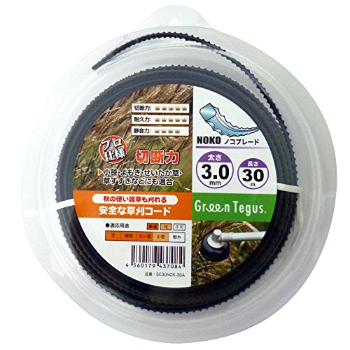 Sanyo Tegusu SC30NOK-30A Grass Cutting Nylon Cord, Saw Blade, Black, 0.1 inch x 98.4 ft (3.0 mm x 30 m) Roll