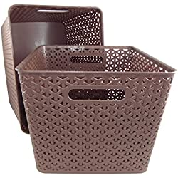 Basket Weave Plastic Storage Bin Set of 2 (13.75 x 11 x 9, Brown)