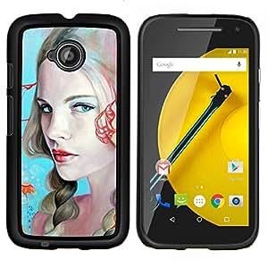LECELL--Funda protectora / Cubierta / Piel For Motorola Moto E2 E2nd Gen -- Labios de la mujer rubia atractiva rojos Ojos Azules --
