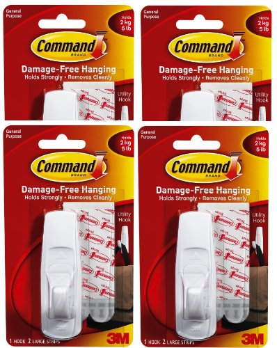Command Utility Hook, Large, 5-Pound Capacity, 4-Hooks (Utility Hook Plastic)