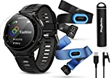 Garmin Forerunner 735XT (Black, Tri-Bundle) Power Bundle | Includes HRM Tri & HRM Swim Chest Straps, HD Glass Screen Protectors (x2) & PlayBetter Portable Charger | Multisport GPS Running Watch