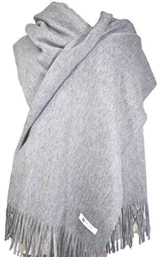 MARUYAMA Wool Stole, Long Scarf, Shawl, 100% Wool, 78x28 inch, Natural material, Model B0101, Gray , Large