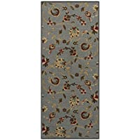 Custom Size GREY Floral Rubber Backed Non-Slip Hallway Stair Runner Rug Carpet 31 inch Wide Choose Your Length 31in X 14ft