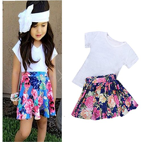 (Baby Girls T-Shirt Tops+Floral Short Skirt, Franterd Outfit Clothes Set (5T, White 2))