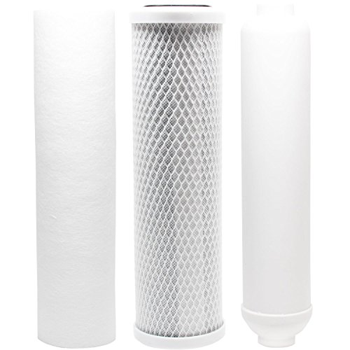 (Replacement Filter Kit for Puromax PC4 RO System - Includes Carbon Block Filter, PP Sediment Filter & Inline Filter Cartridge)