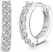Fashion Jewelry 925 Sterling Silver Rhinestones Hoop Diamond Stud Earrings for Women
