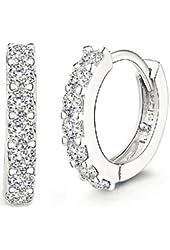 ANDI ROSE Fashion Jewelry 925 Sterling Silver Rhinestones Hoop Diamond Stud Earrings for Women