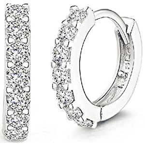 ANDI ROSE Fashion Jewelry 925 Sterling Silver Rhinestones Hoop Diamond Stud Earrings for Women (1061 Silver)