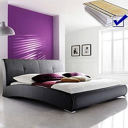 Cama acolchada negro 180 x 200 cm cama + somier + colchón ...