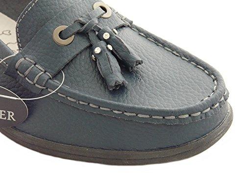 Zapatos Mocasines de Cuero Para Mujer, Zapatos Cómodo sin Cordones Azul