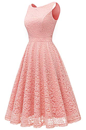 Dentelle Femme Invit Cocktail Elegante Robe Mariage Bbonlinedress Blush de Bal Manches sans Soire wExRqTf5
