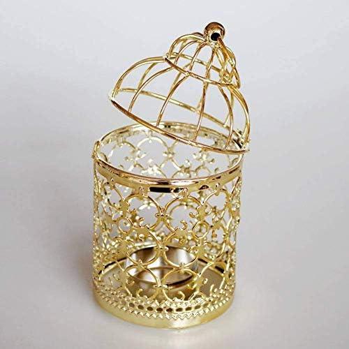 クリスマスキャンドルホルダー中空錬鉄製キャンドルスティックオーナメントゴールドメッキ装飾鳥ケージパターンクリスマスウェディングキ