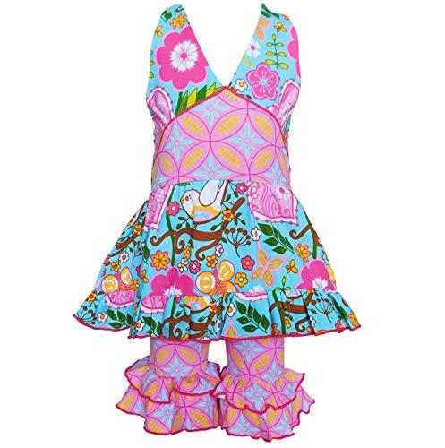 AnnLoren Toddler Girls 4-5T Pink & Blue Love Dove Halter Capri Shorts Clothing - Halter Capri Set