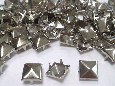 CraftbuddyUS 100 X 9mm Silver Square Pyramid Craft Studs, Fashion Embellishment for Bag Shoe
