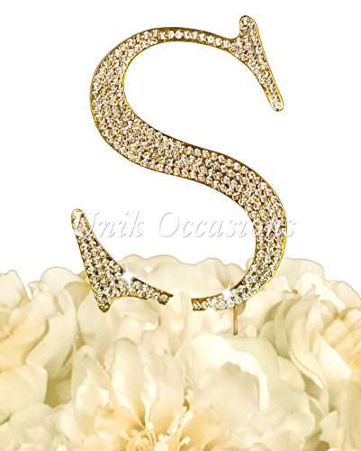 Unik Occasions Collection Rhinestone Cake Topper - Large - Gold (Letter S)]()