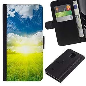 JackGot ( Natura Bella Forrest Verde 73 ) Samsung Galaxy Note 4 IV la tarjeta de Crédito Slots PU Funda de cuero Monedero caso cubierta de piel